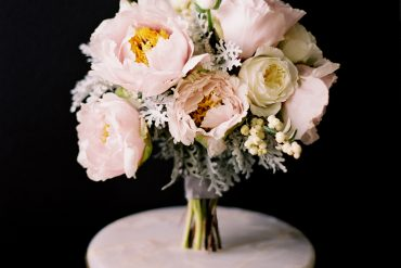 Peony Rose Dusty Miller Ranunculus Bridal Bouquet White Pink Gray Grey