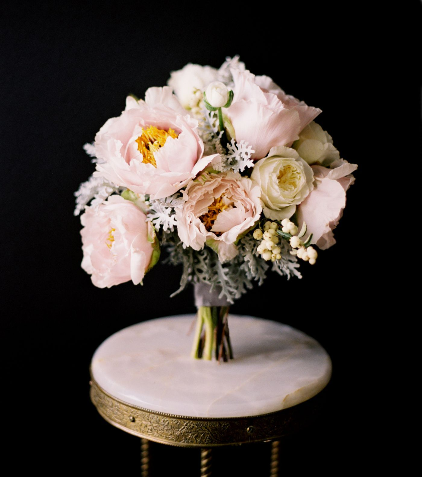 Wedding Bouquet Traditional Flowers : Peony rose dusty miller ranunculus bridal bouquet white pink gray grey once wed