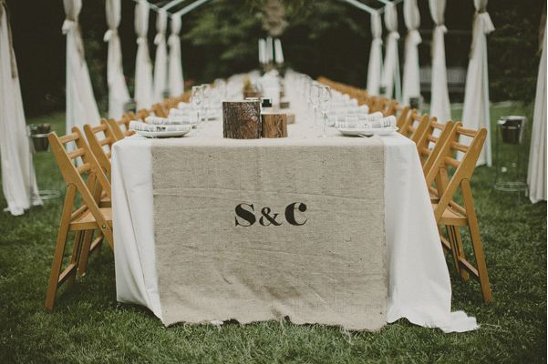 Diy burlap table runner once wed Idees deco mariage champetre