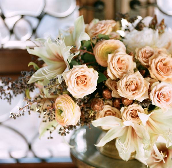 Warm Coral Wedding Centerpiece