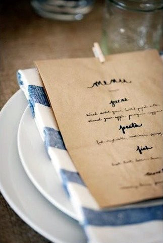 diy paper bag menu once wed. Black Bedroom Furniture Sets. Home Design Ideas