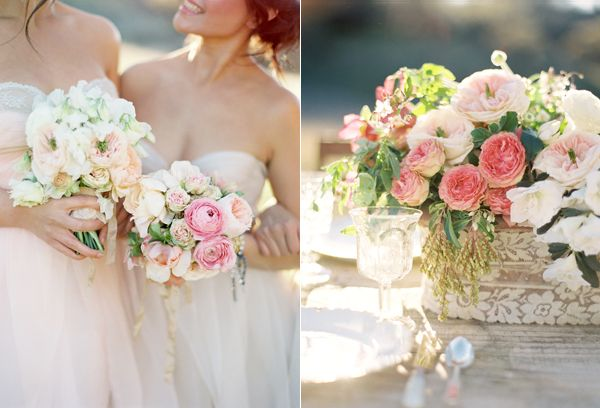 pink-wedding-flowers-lace-wrapped-centerpiece