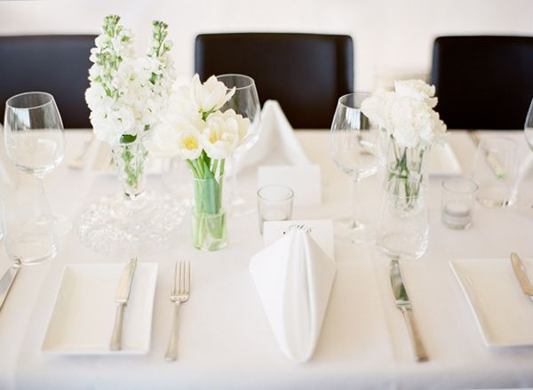 Simple White Reception Flowers