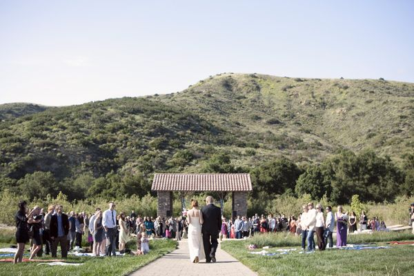 walking-down-aisle-casual-camp-wedding