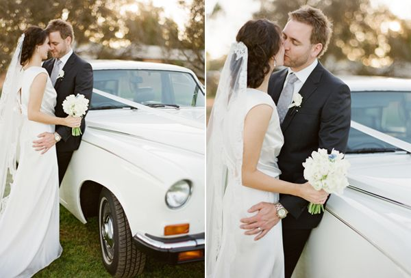 White Vintage Wedding Car Ideas