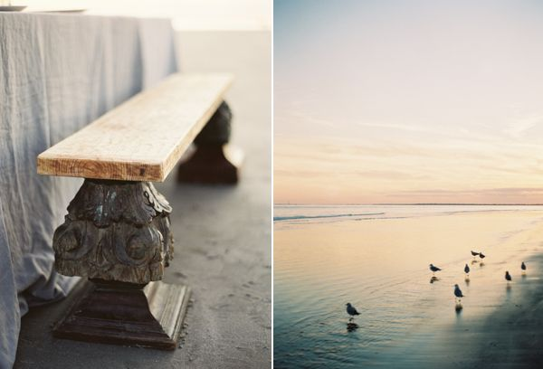 Beach Wedding Carved Wooden Bench