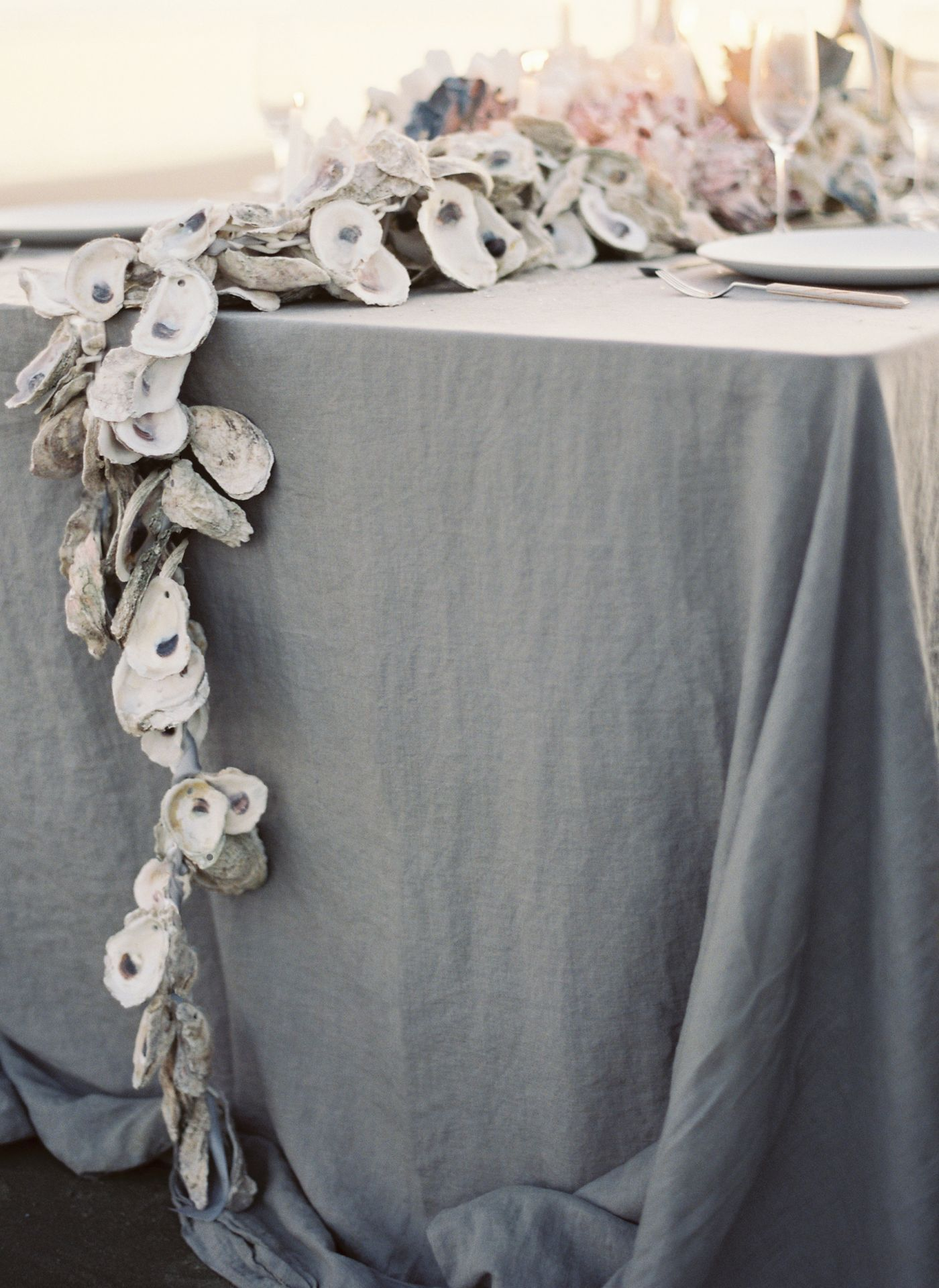 Beach Wedding Reception Oyster Garland Centerpiece