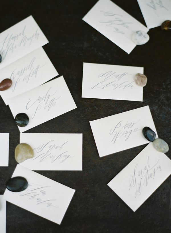 Betsy Dunlap Calligraphy Stone Escort Cards