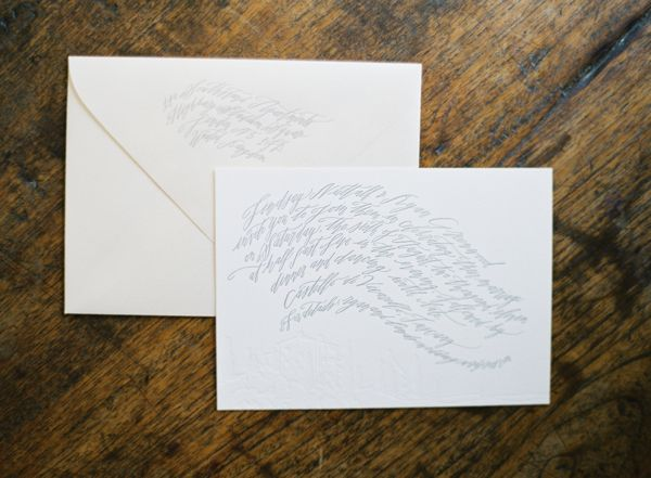 Calligraphy Letterpress Betsy Dunlap Wedding Invitations