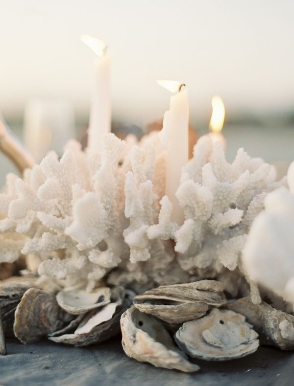 Seaside reception oyster garland coral centerpiece