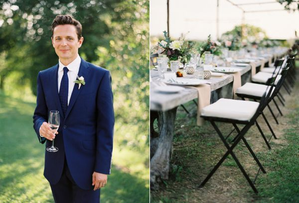Groom Navy Suit Rustic Elegant Reception