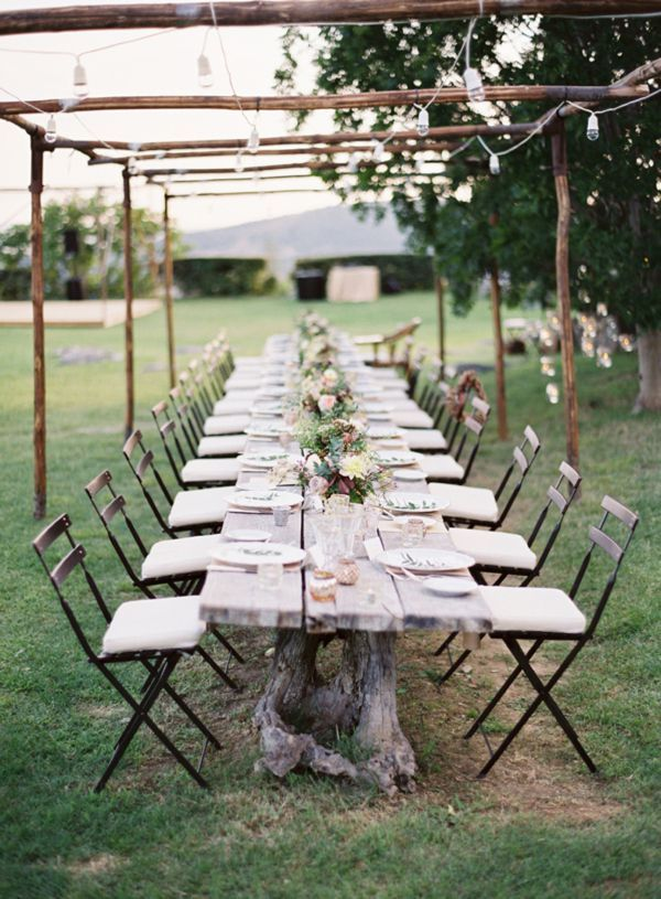 Long Tree Stump Reception Table Cafe Lights
