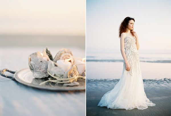 Oyster Shell Votives Kevin Hall Gown Beach Wedding Oncewed Magazine Jose Villa Joy Thigpen