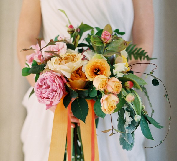 Rustic Orange Yellow Wedding Bouquet Flowers