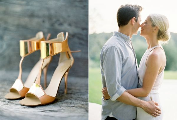 Italy Engagement Shoot Couple Gold Shoes