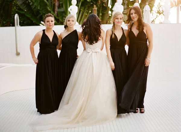 Black Tie Modern Bridesmaid Dresses Elegant