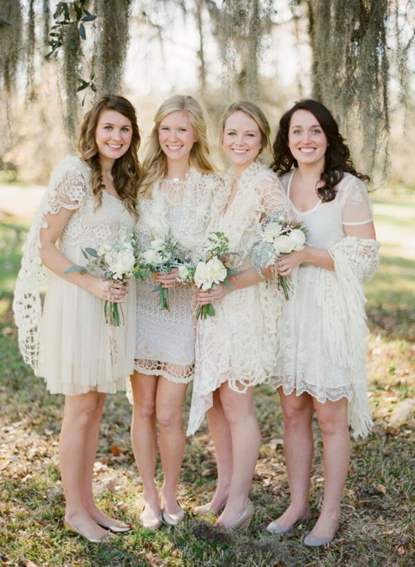 Bridesmaids Ivory Crocheted Lace Dresses