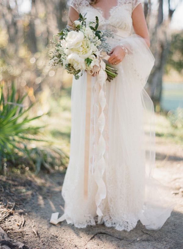 Claire Pettibone Dress Veil Ivory Bouquet Ribbons