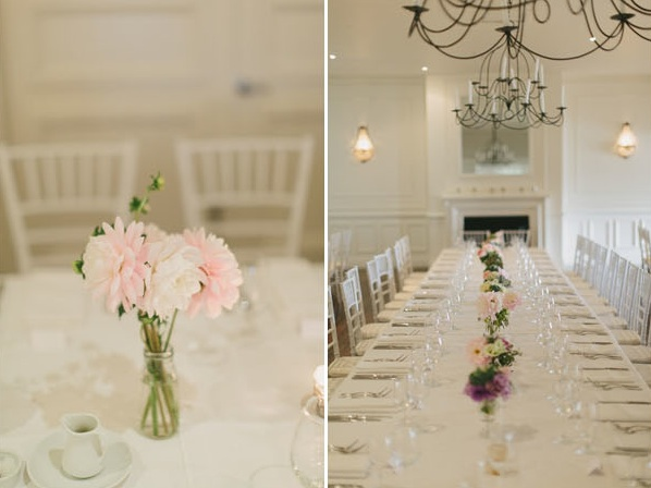 Great Gatsby Wedding Banquet Style Reception Dining Room Pink White White Budvase Centerpieces
