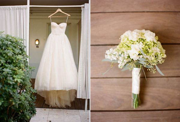 green-white-wedding-bouquet-modern-vera-wang-bow-wedding-dress
