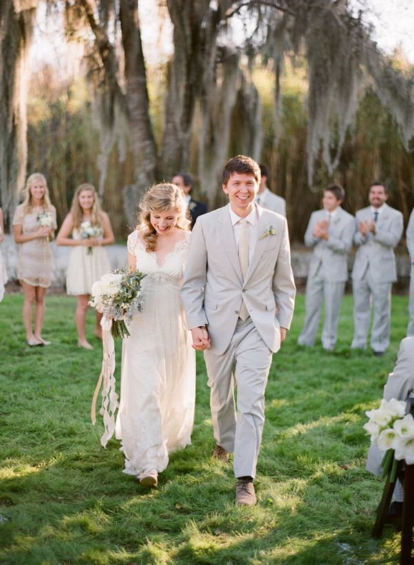 Ivory Tan Light Gray Lace Wedding Outdoors