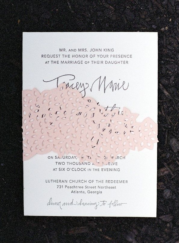Letterpress Calligraphy Wedding Invitation Pink Accent Colors