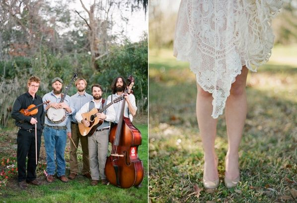 Magnolia Plantation Charleston Wedding Bluegrass Band Lace Bridesmaid Dress