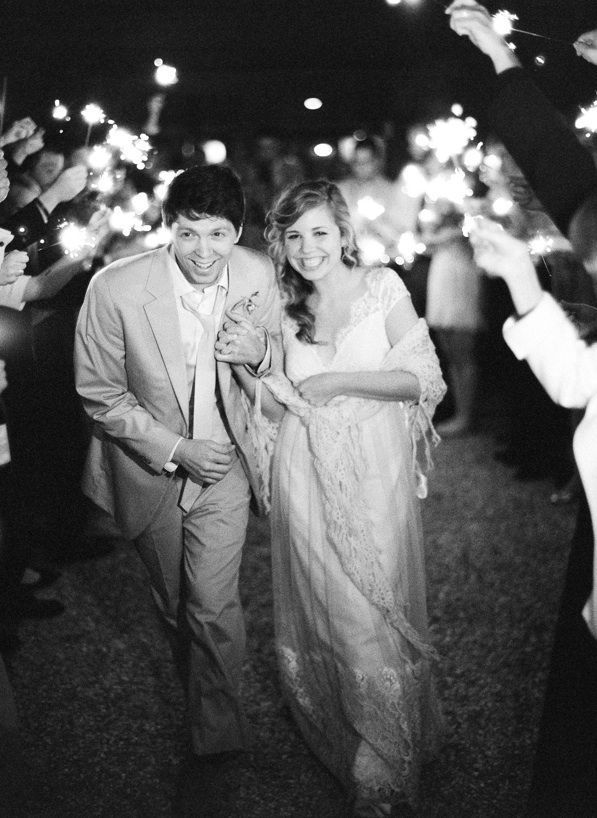 Magnolia Plantation Charleston Winter Wedding Sparkler Sendoff
