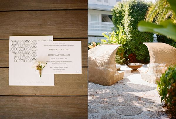 Modern White Miami Style Wedding Invitations