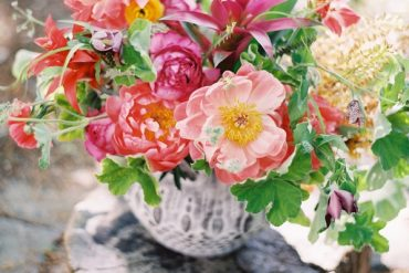 Pink Peony Bright Tropical Bouquet Urn Vase