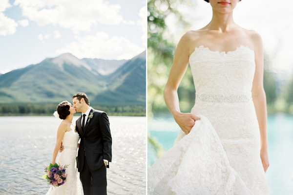 rustic-mountainside-wedding-banff-lake-couple-kiss