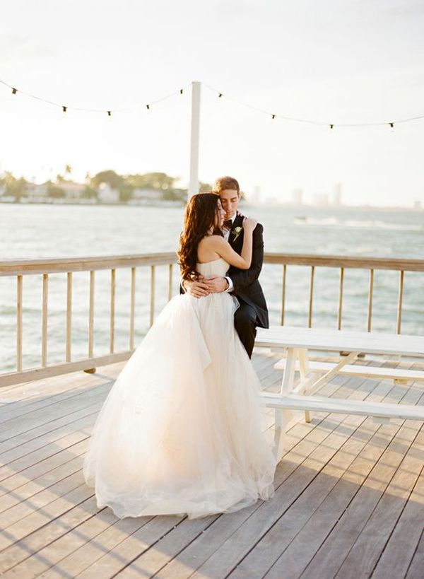 Seaside Beach Modern Miami Wedding Black Tie