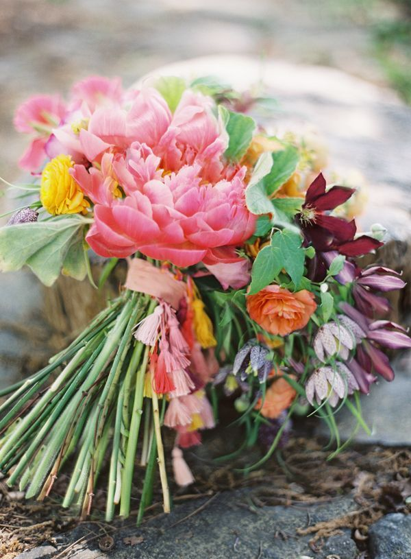 Tassel Bouquet Diy Wedding Ideas Bright Tropical Flowers Pink Peonies