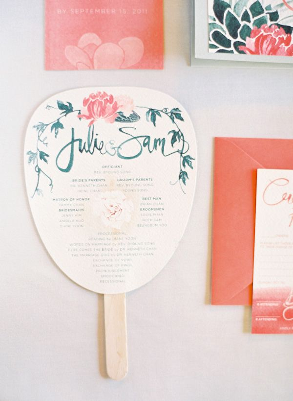 wedding ceremony program favor fan invitation pink green once wed