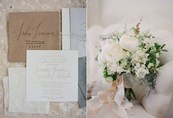 Wedding Invitation Suite White Bouquet