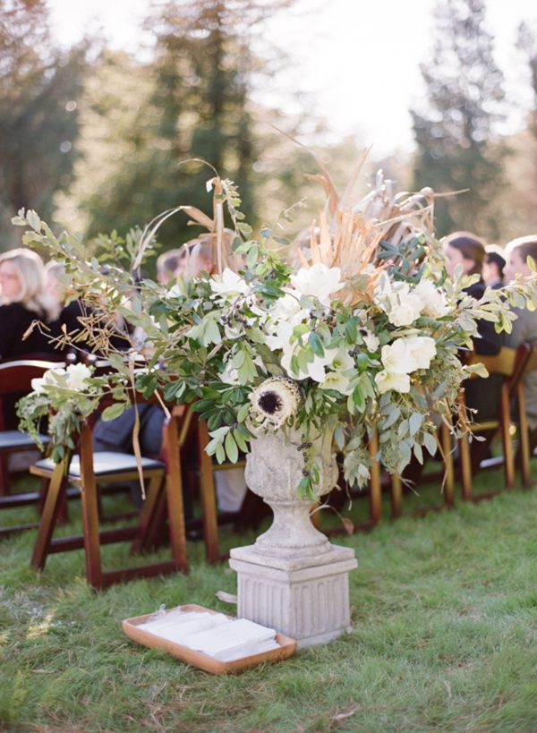 Winter Ceremony Urn Arrangement Palmetto Fronds Once Wed