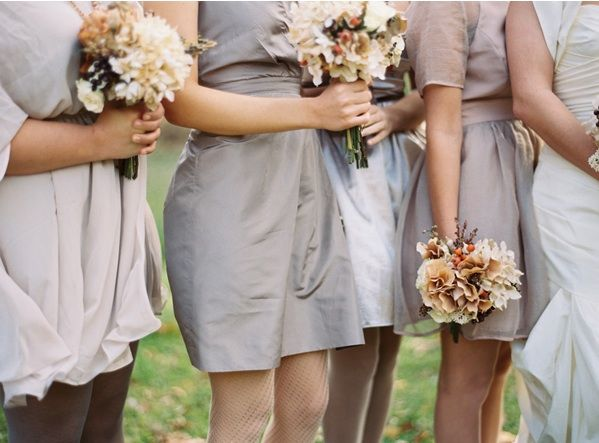 airplane-hanger-wedding-bridesmaid-dresses-fall-coral-beige-brown-bouquets