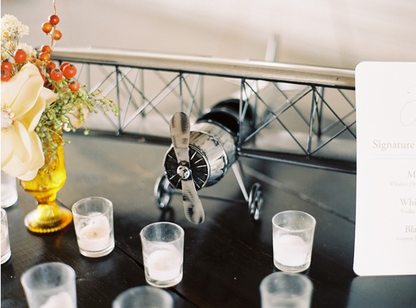 Airplane Hanger Wedding Reception Decor Venue Candles Paper Goods
