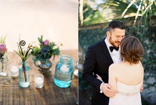 Blue Glass Mason Jar Centerpiece Bride Groom Charleston