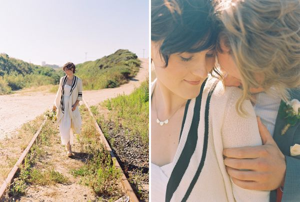 california-elopement-bride-cream-navy-cardigan-train-tracks-1