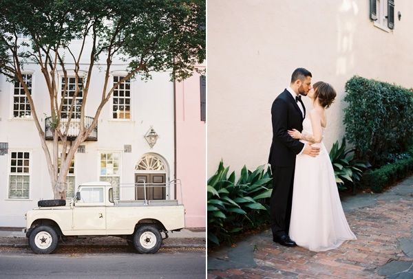 Charleston Wedding Truck Scenery Bride Groom Kiss