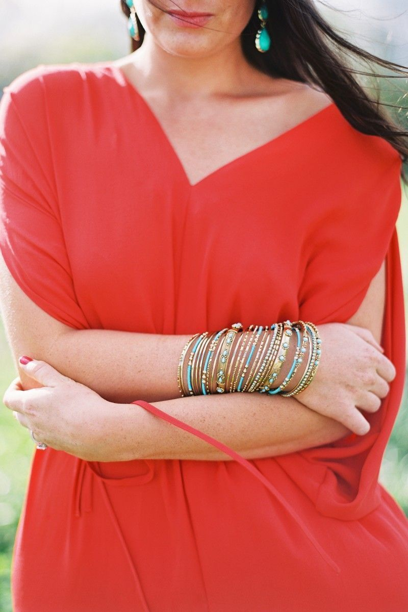 Coral Dress Engagement Photo Outfit Torquois Accessories Bangle Bracelets