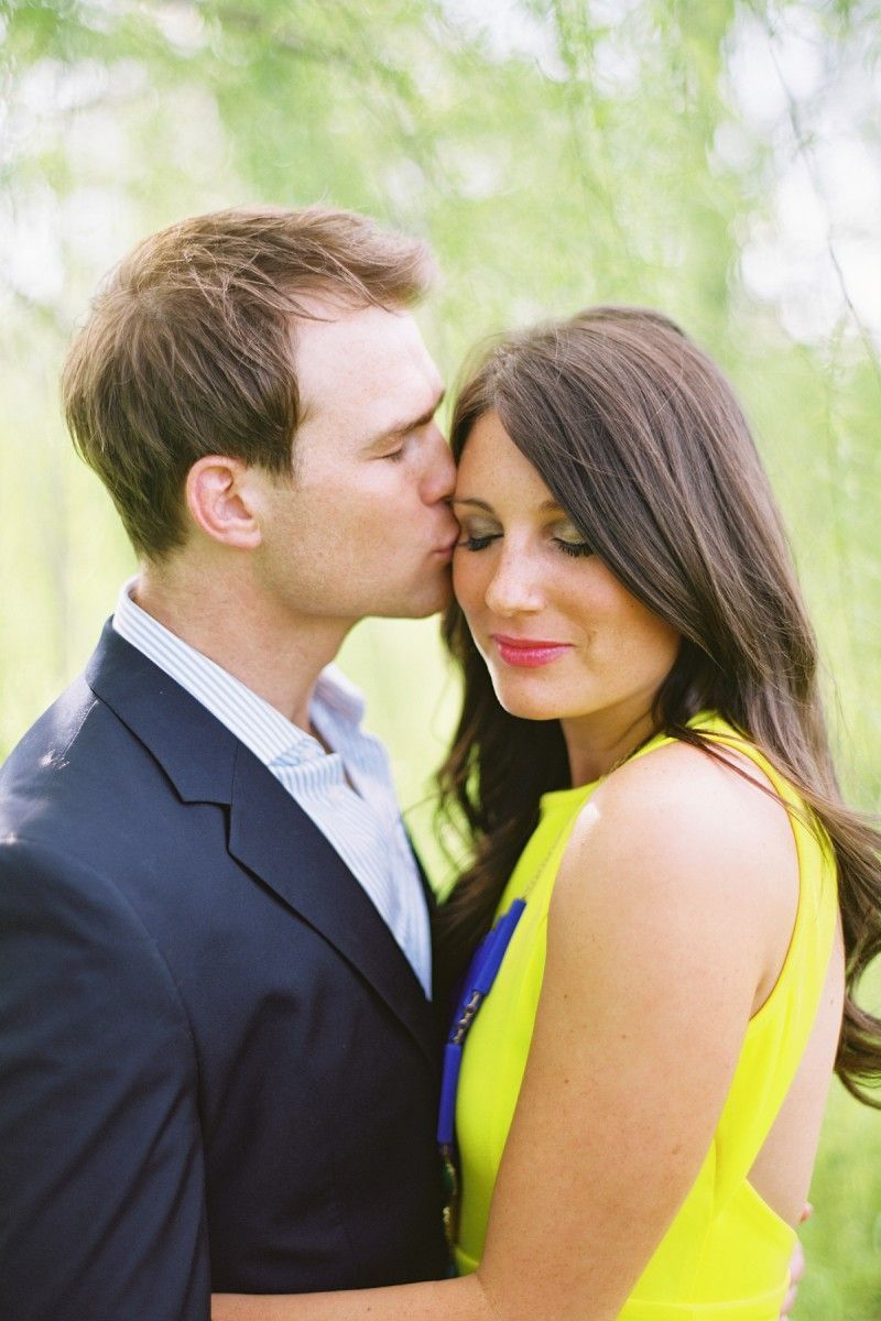 Engagement Photo Bright Yellow Royal Blue Dress Navy Blazer