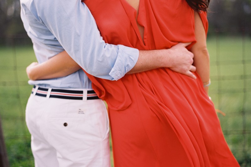 Engagement Photos Coral Dress Blue White