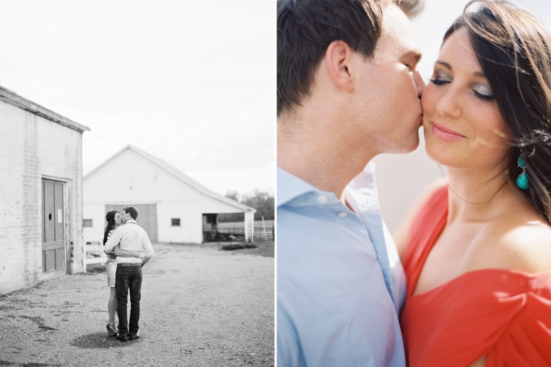 Engagement Photos Tennessee Coral Dress Kiss