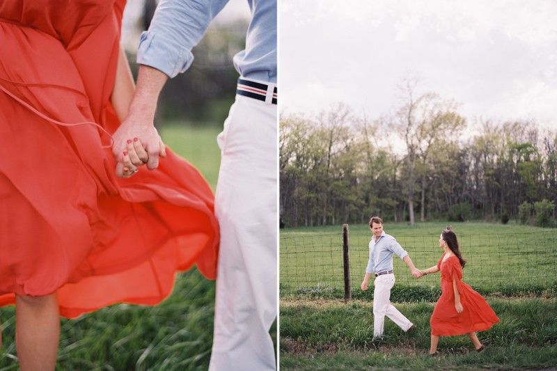 Engagement Photos Tennessee Coral White Blue Field