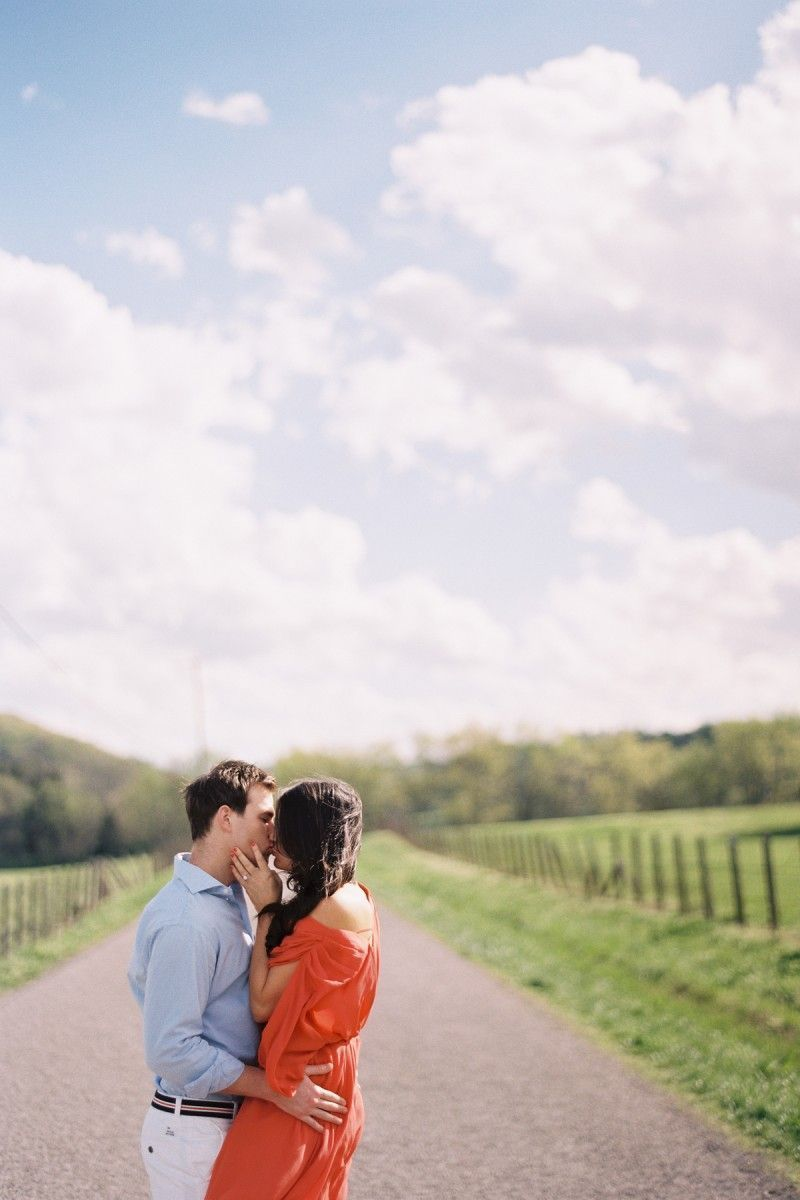 Engagment Photo Coral Dress Tennessee