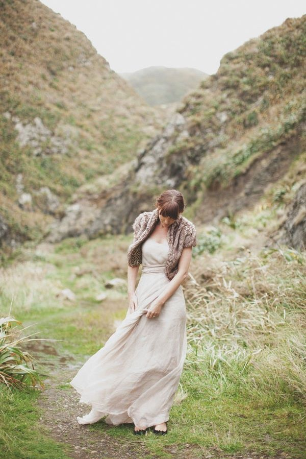 New Zealand Cliffs Wedding Bride Fur Cover Up Mountains