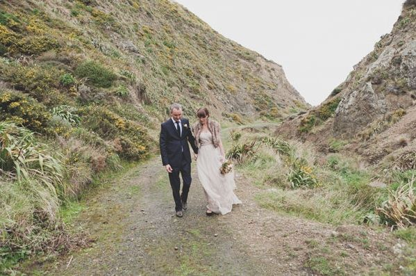 New Zealand Cliffs Wedding Bride Groom Fur Cover Up