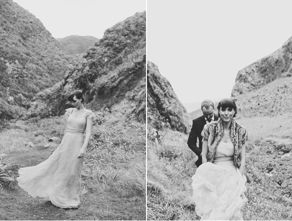 New Zealand Cliffs Wedding Bride Groom Mountainside